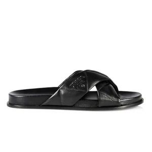 PRADA Logo Quilted Strap Leather Sandals, Black 8B